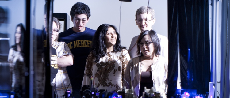 Faculty with students at UC Merced